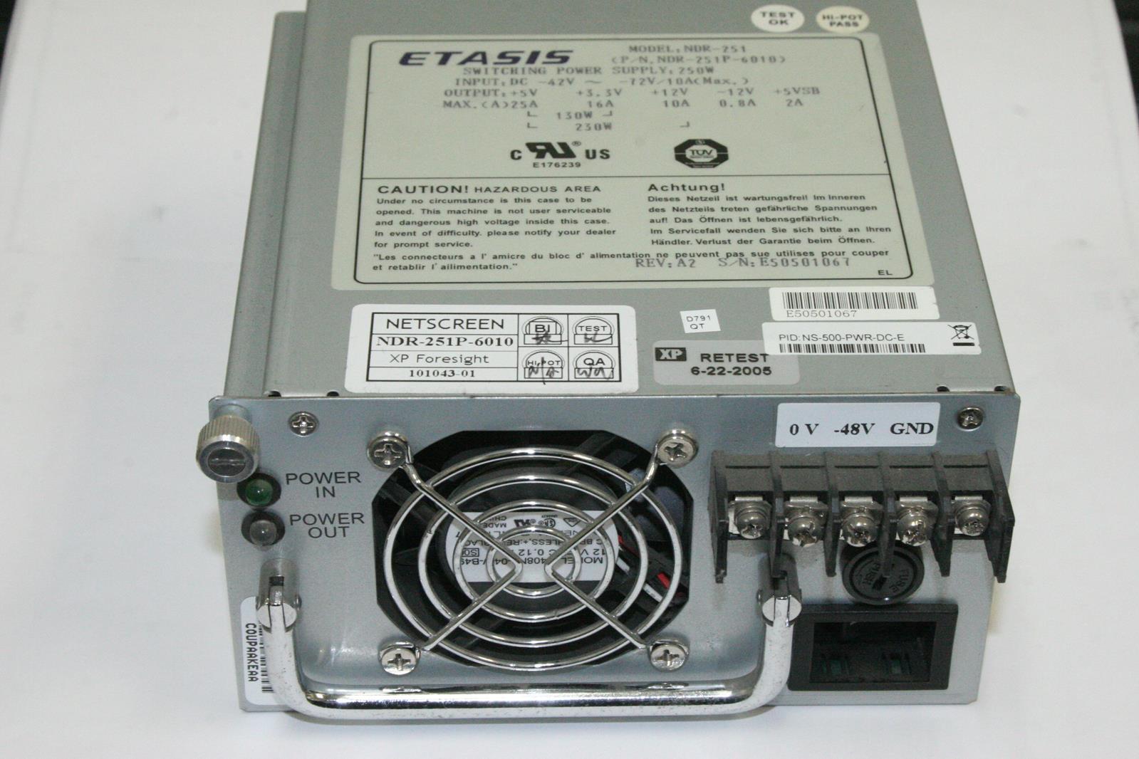 ETASIS NDR 251P 6010 NS 500 PWR DC E Switching Power Supply ETASIS