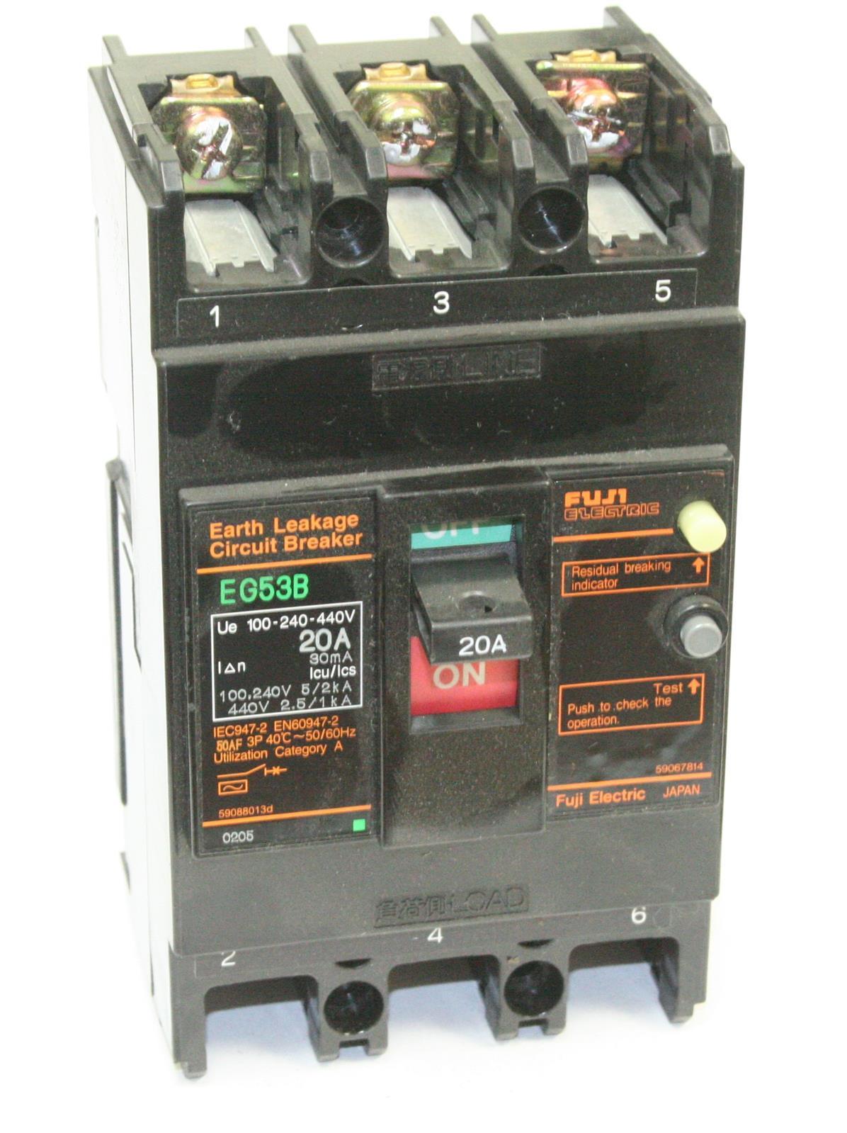 NEW FUJI ELECTRIC EG53B 40A EARTH LEAKAGE CIRCUIT BREAKER