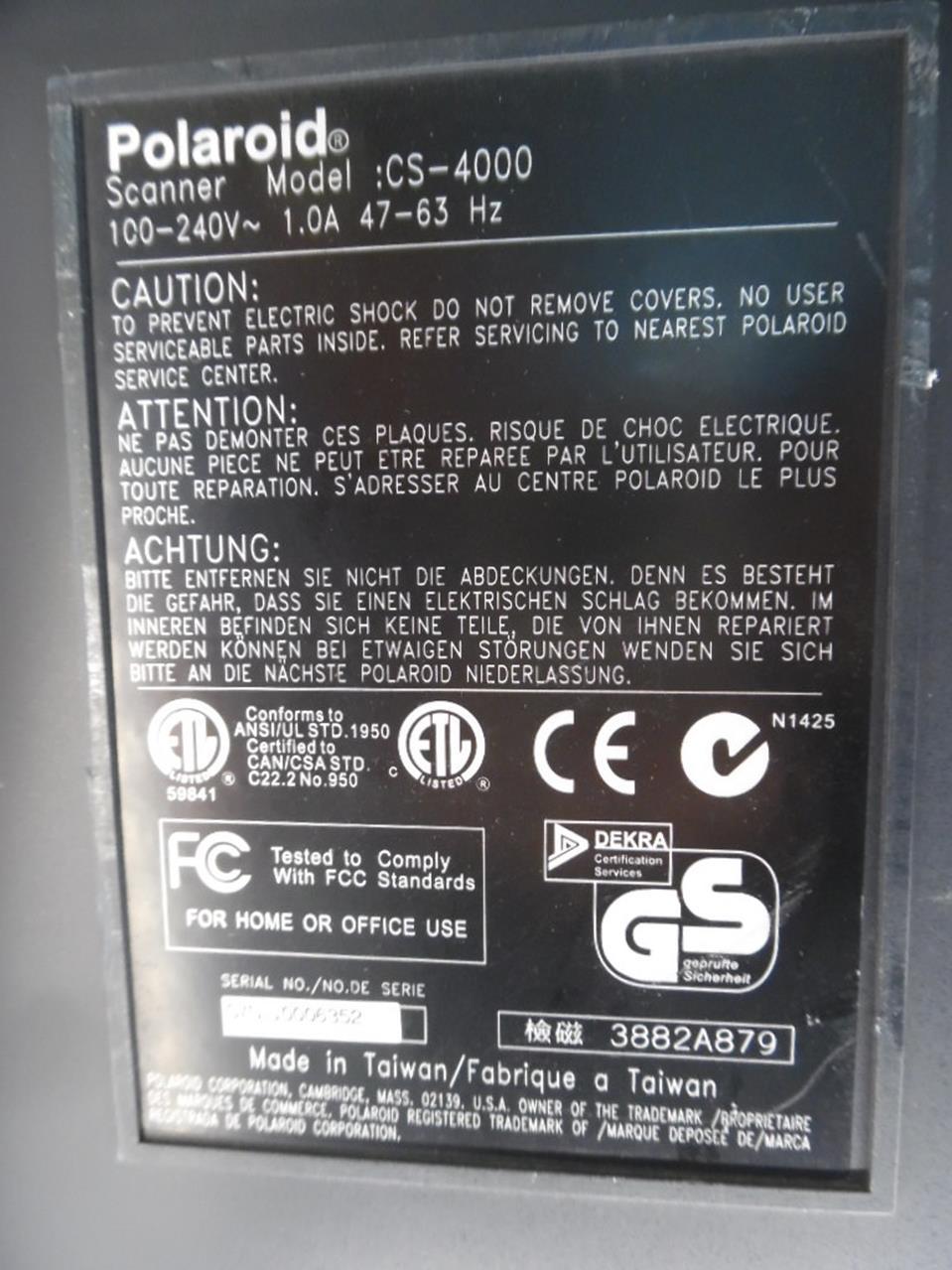 Product Details POLAROID CS 4000 SprintScan 4000 SCANNER