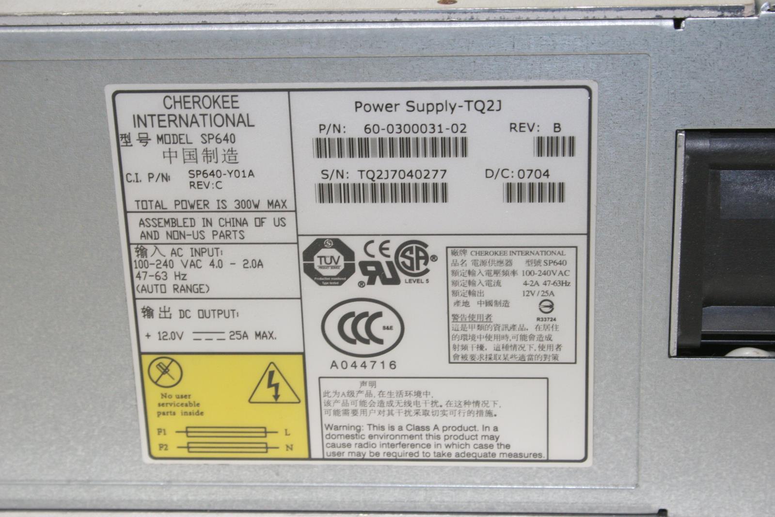 """BROCADE 60-0300031-02 Cherokee SP640 TQ2J 300W Power Supply /""""Make an Offer/"""""""